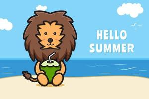 Cute lion holding coconut with a summer greeting banner cartoon vector icon illustration