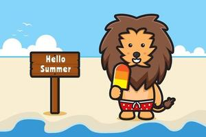 Cute lion holding ice cream with a summer greeting banner cartoon vector icon illustration