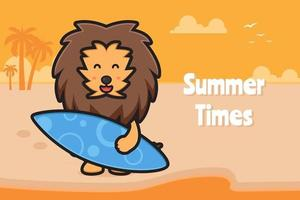 Cute lion holding swimming board with a summer greeting banner cartoon vector icon illustration