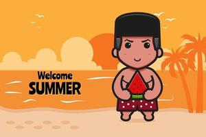 Cute boy holding watermelon with a summer greeting banner cartoon vector icon illustration