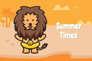 Cute lion wearing swimming ring with a summer greeting banner cartoon vector icon illustration