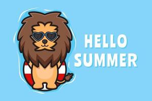 Cute lion floating relaxes with a summer greeting banner cartoon vector icon illustration