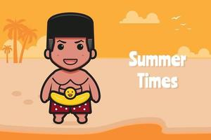 Cute boy wearing swimming ring with a summer greeting banner cartoon vector icon illustration