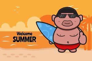 Cute fat boy holding swimming board with a summer greeting banner cartoon vector icon illustration
