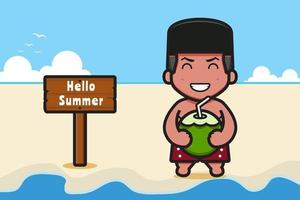 Cute boy holding coconut with a summer greeting banner cartoon vector icon illustration