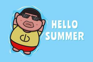 Cute fat boy floating relaxes with a summer greeting banner cartoon vector icon illustration