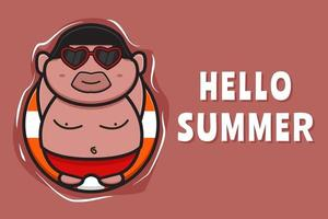 Cute fat boy floating relaxes with a swimming ring summer greeting banner cartoon vector icon illustration