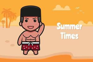 Cute boy waving hand with a summer greeting banner cartoon vector icon illustration