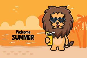 Cute lion holding orange juice with a summer greeting banner cartoon vector icon illustration