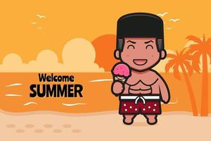 Cute boy holding ice cream with a summer greeting banner cartoon vector icon illustration