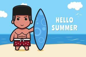 Cute boy holding swimming board with a summer greeting banner cartoon vector icon illustration