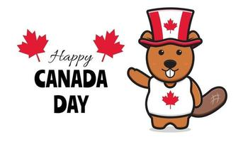 Cute beaver character celebrated Canada Day cartoon vector icon illustration