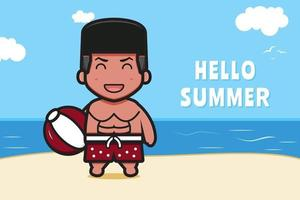 Cute boy holding ball with a summer greeting banner cartoon vector icon illustration