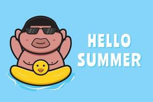 Cute fat boy swimming with swimming ring with a summer greeting banner cartoon vector icon illustration