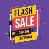 Flash Sale Up to 90 Percent off promo word banner. Social media post template. vector