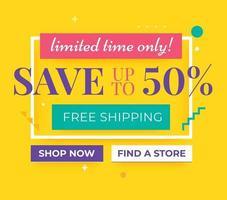 Save Up to 50 off promo banner design. Social media ads for sale event. vector