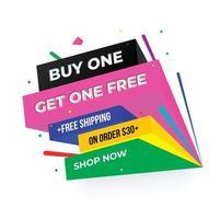 Buy1 Get1 Discount 50 off Banner design. Promo banner graphic design. vector