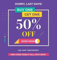 Buy1 Get1 Discount 50 Percent off Banner design. Promo banner graphic design. vector