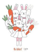 Hand drawn style. Cartoon sketch the cute posture baby rabbit  animal with carrot vector