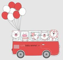 animal Cartoon sketch the cute animals on red car bus with balloon. Hand drawn style. vector