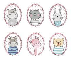 Cartoon sketch the cute animals. Hand drawn style. vector