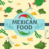 Square Banner label flat on the theme of Mexican food large inscription name in the center on the background of cacti and spicy red and green chili peppers vector