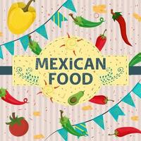 Square Banner label flat on the theme of Mexican food large inscription name in the center on the background are red green hot chili pepper and yellow sweet vector
