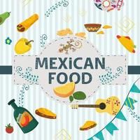 Square Banner label flat on the theme of Mexican food a large inscription name in the center on the background are located tortilla taco hot pepper steak a bottle of tequila vector