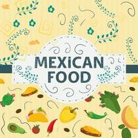 Square Banner label flat on the theme of Mexican food large inscription name in the center on the background are red green hot chili tacos and burritos vector