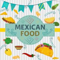 Square Banner label flat on the theme of Mexican food large inscription name in the center on the background there are tortilla taco hot pepper cactus plant branches vector