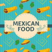 Square Banner label flat on the theme of Mexican food a large inscription name in the center on the background there are vertical tortillas cheetos and burritos vector