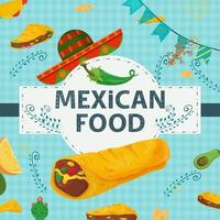 A square banner label flat on the theme of Mexican food a large inscription name in the center on the background there is a tortilla burrito hat sombrero green pepper vector
