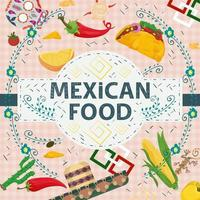 Square Banner label flat on the theme of Mexican food large inscription name in the center on the background are pepper sombreros corn skulls vector