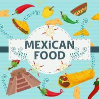 Square Banner label flat on the theme of Mexican food large inscription name in the center on the background are red green hot chili pepper pyramid of Indians and sauce vector