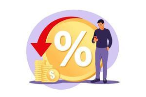Rebate program, consumer benefit, selling discount concept. Money saving. Cash back service. Cost transfer. Vector illustration. Flat.