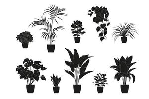 Collection silhouettes of houseplants in black color. Potted plants isolated on white. set green tropical plants. trendy home decor with indoor plants, planters, tropical leaves. vector
