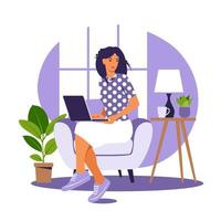 Woman sitting on the armchair with laptop. Working on a computer. Freelance, online education or social media concept. Working from home, remote job. Flat style. Vector illustration. Blue interior.