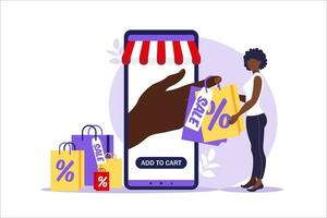 Young african woman goes with paper bags. Concept of online and offline shopping, sale, discount. Vector illustration for web banner, infographics, mobile. Illustration in flat style.