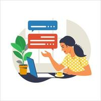 Girl with laptop on the armchair. Working on a computer. Freelance, online education or social media concept. Working from home, remote job. Flat style. Vector illustration. Blue interior.