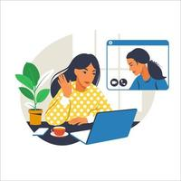 Girl at home or in the office at a desk with a laptop. Communication with the team via video online, urgent meeting, remote work, freelance. Vector flat illustration.
