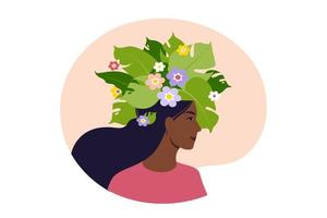 Mental health, happiness, harmony concept. Happy african female head with flowers inside. Mindfulness, positive thinking, self care idea. Vector illustration. Flat.