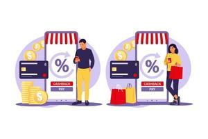 Cash back concept. Saving money. Loyalty program. Rebate program. Selling discount concept. Cash back service. Cost transfer. Vector illustration. Flat.