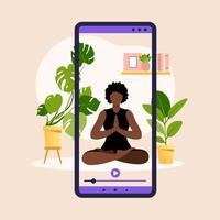 Wellness and healthy lifestyle at home. African woman doing yoga exercises. Online yoga banner with young girl in asana, house plant and smartphone screen. Vector illustration.
