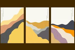 Art landscape background with Japanese wave pattern vector. Abstract template with curve element. Mountain forest layout design in vintage style. vector