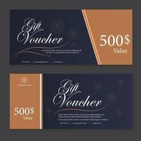Gift Voucher Template Promotion Sale discount, black and white background vector