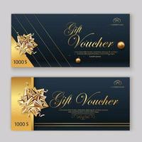Set of luxury gift vouchers with ribbons and gift box. Elegant template for a festive gift card, coupon and certificate. Discount Coupon Template vector