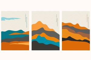 Japanese background with hand drawn wave vector. Abstract template with geometric pattern. Mountain layout design in oriental style. vector
