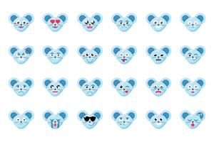 Mouse face flat vector emoticons set