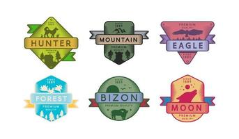 Collection Badges Animals and Nature Set Logo vector