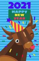 New year 2021 cute greeting card with cartoon bull vector